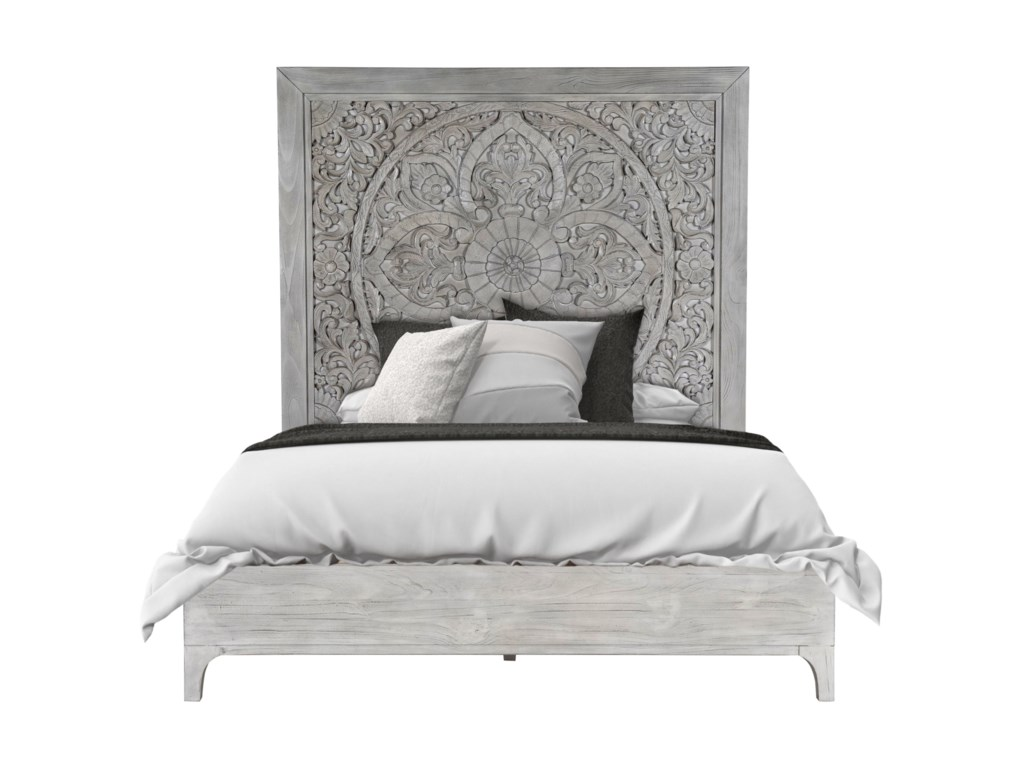 Boho Chic Queen Platform Bed in Washed White