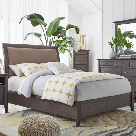 Full Upholstered Low Profile Sleigh Bed