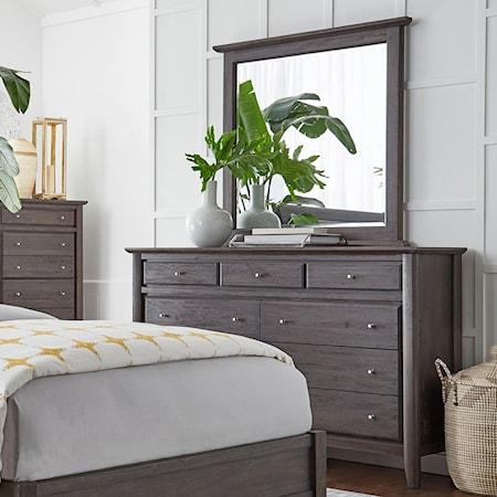 Nine Drawer Dresser & Mirror