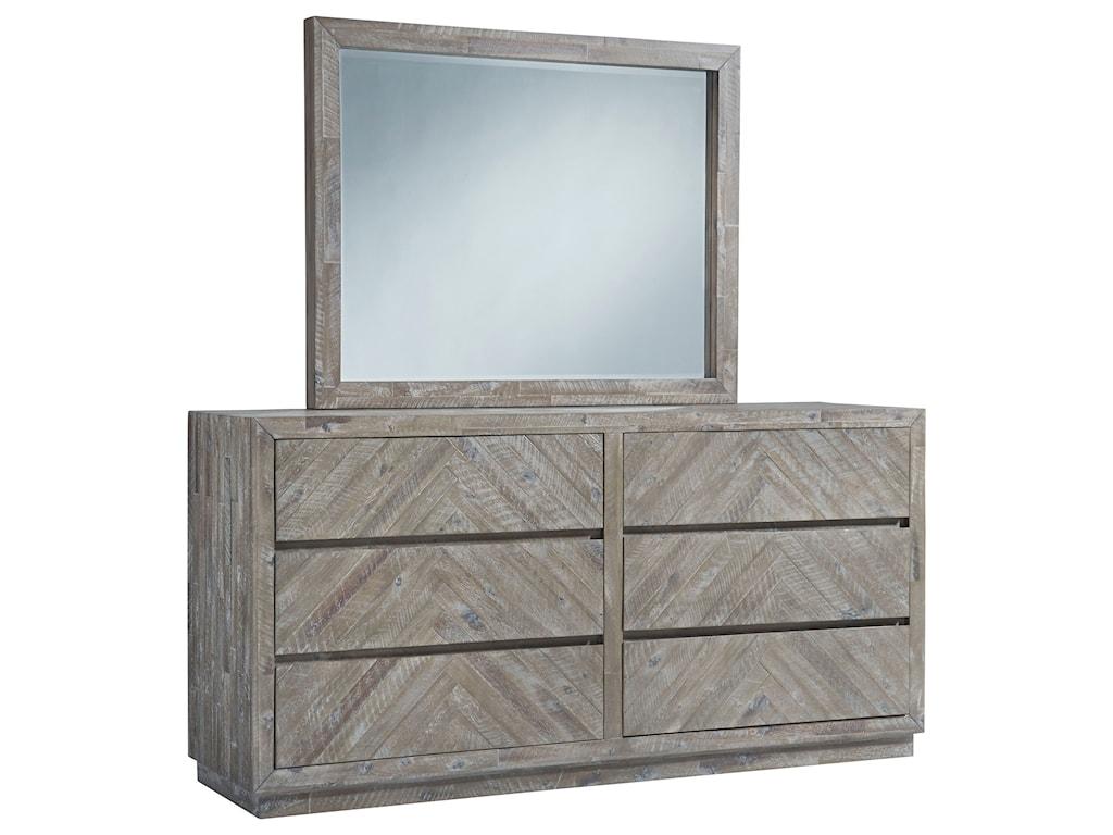 Herringbone Contemporary 6 Drawer Dresser And Mirror In Rustic Latte Finish By Modus International At Sam Levitz Furniture