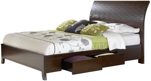 Modus International Legend Wood Contemporary King Swirl Carved Sleigh Storage Bed