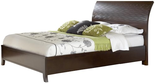 Modus International Legend Wood Contemporary California King Swirl Carved Sleigh Bed