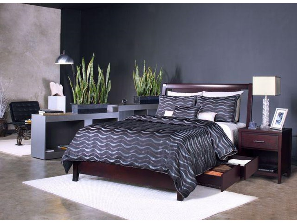 Modus International NevisCal King Low Profile Bed with Storage