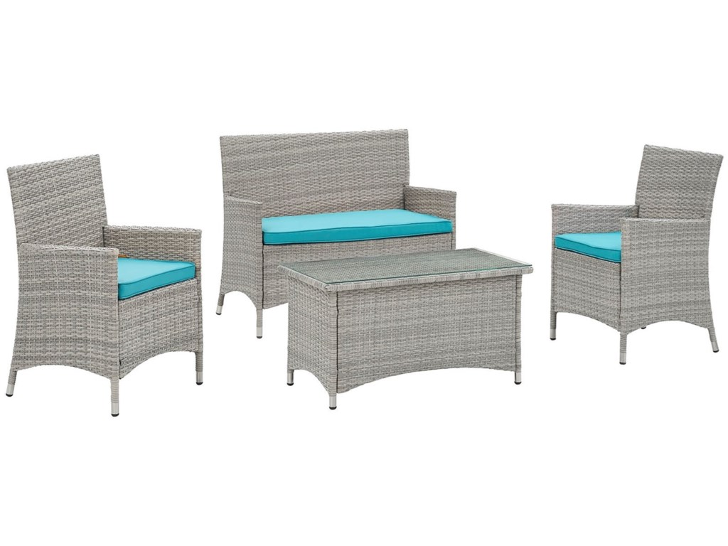 Bridge 4 Piece Outdoor Patio Conversation Set By Modway