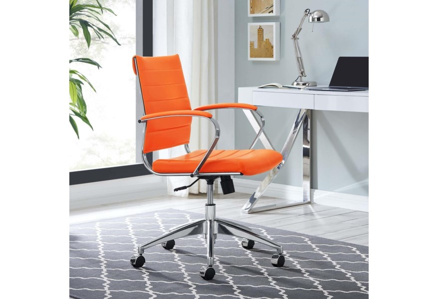 Modway Home Office Jive Mid Back Office Chair In Orange Value City Furniture Office Task Chairs