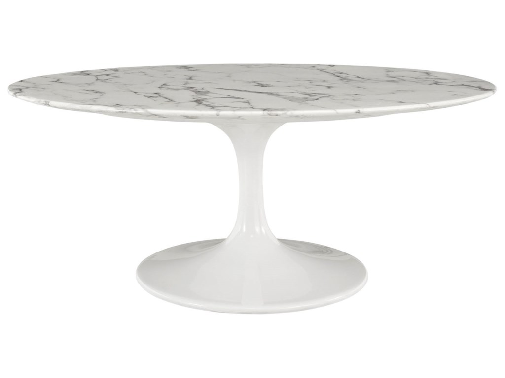 Modway Lippa Marble OvalShaped Artificial Marble Coffee Table - Oval shaped marble coffee table
