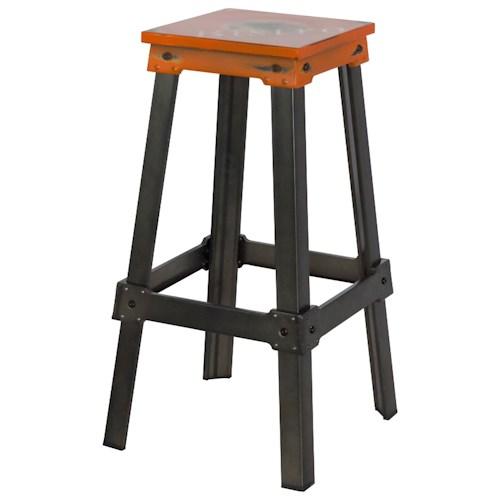 Moe's Home Collection Amelie Steel Bistro Bar Stool Tangerine