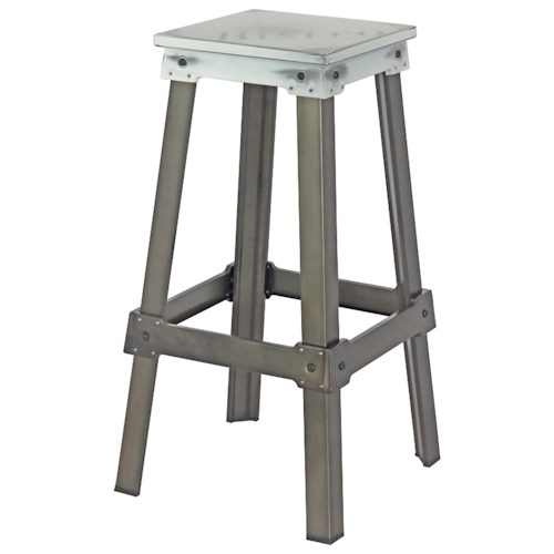 Moe's Home Collection Amelie Steel Bistro Bar Stool White