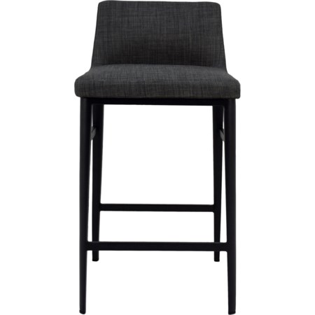 Charcoal Mid-Century Modern Counter Stool