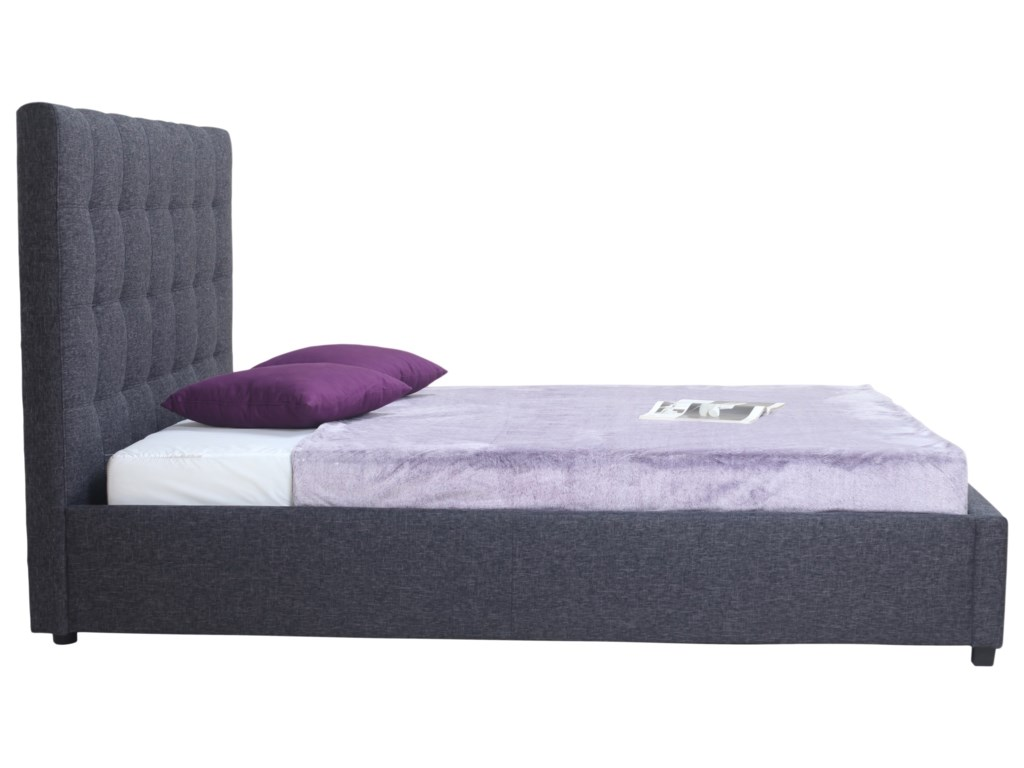 Moe's Home Collection Belle Storage Bed King Charcoal Fabric