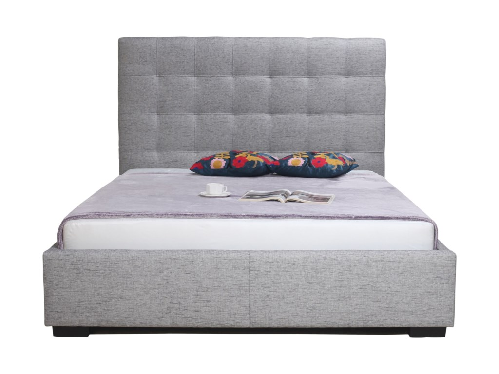 Moe's Home Collection Belle Storage Bed King Light Grey Fabric