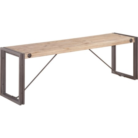 Short Wooden Bench with Metal Stretchers