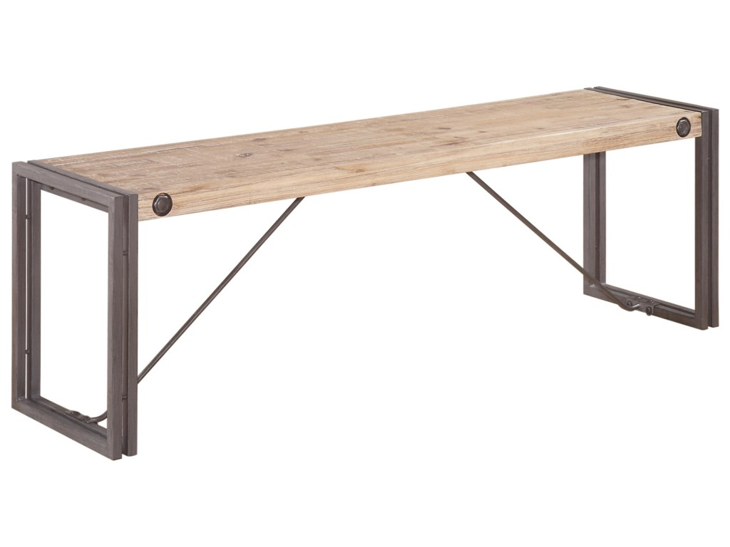 Brooklyn Short Wooden Bench With Metal Stretchers By Moes Home Collection At Reids Furniture