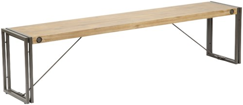 Moe's Home Collection Brooklyn Large Wooden Bench with Metal Stretchers