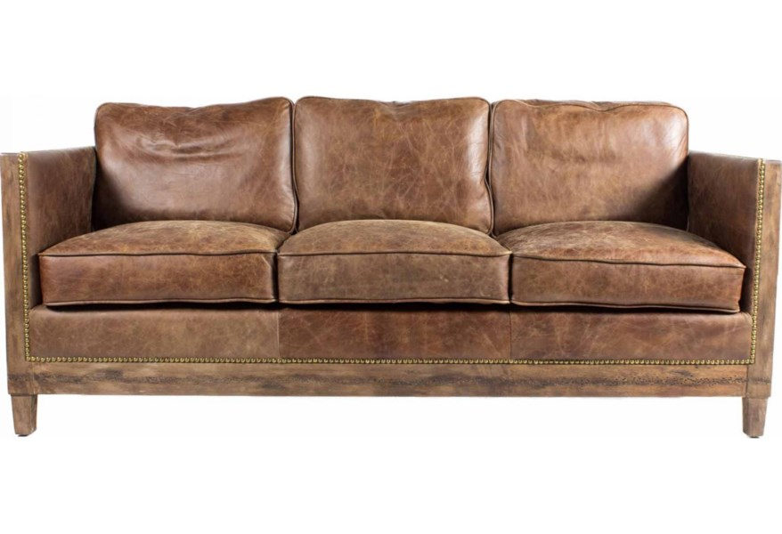 Leather Sofa With Exposed Wood