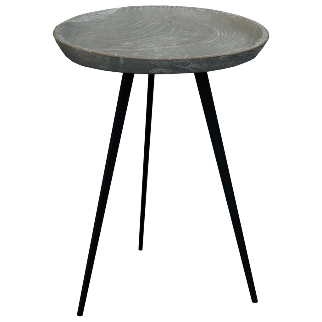 Moes home collection java contemporary tall accent table with solid teak top