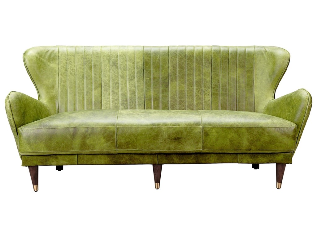 Moes Home Collection Keaton Mid Century Modern Leather Sofa With