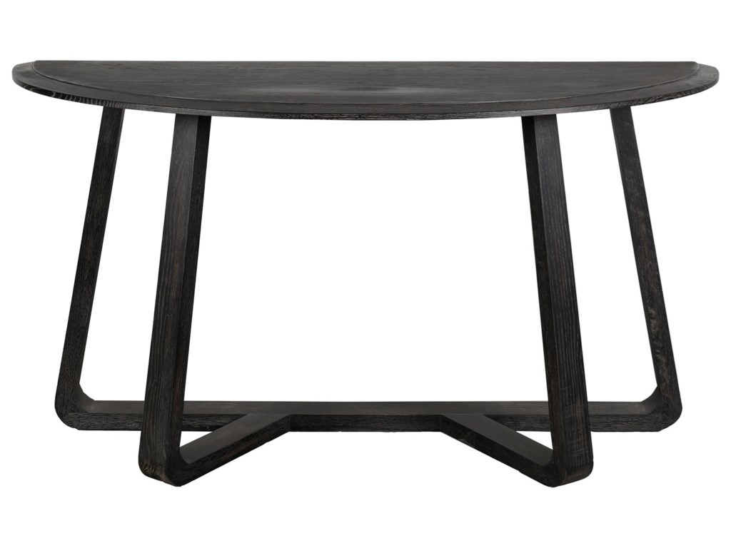 Moe S Home Collection Nathan Contemporary Demilune Charcoal Black Console Table