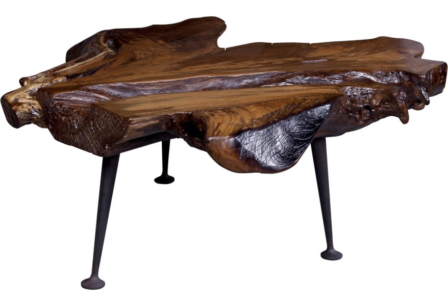 Moe S Home Collection Natural Rustic Live Edge Solid Teak Coffee