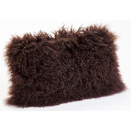 Lamb Fur Pillow Dark Brown