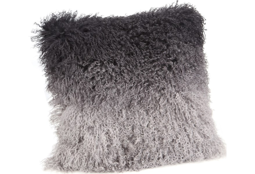 Pillows and Throws Lamb Fur Pillow Grey Spectrum by Moe\'s Home Collection  at Stoney Creek Furniture
