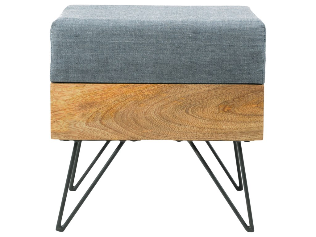 Moes Home Collection Pouf Mid Century Modern Square Ottoman With