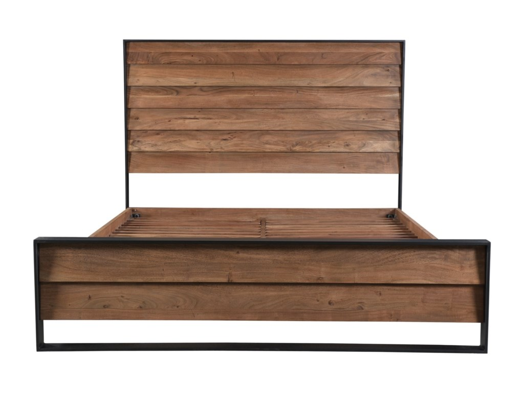c2af564a4f3 Moe s Home Collection Sevilla Contemporary King Size Bed Wood and Metal  Platform Bed with Louvered Design