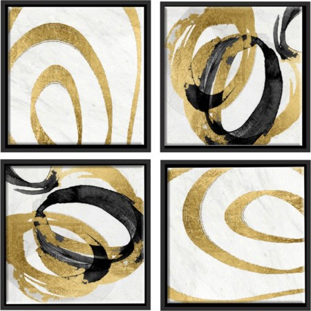 Gold Swirls Wall Décor Set Of Four