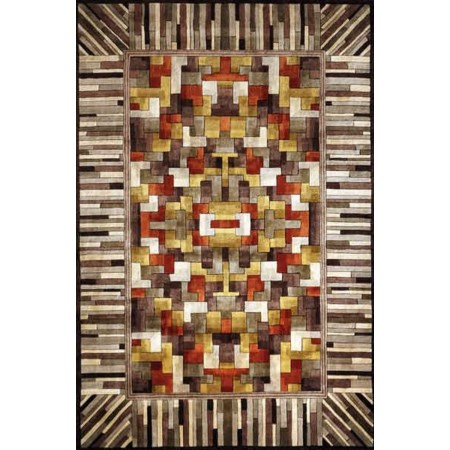 5.3 x 8 Area Rug : White-Brown
