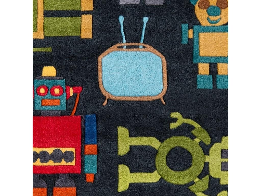 Momeni Lil Mo WhimseyRobots 5' X 5' Round Rug - Steel Blue