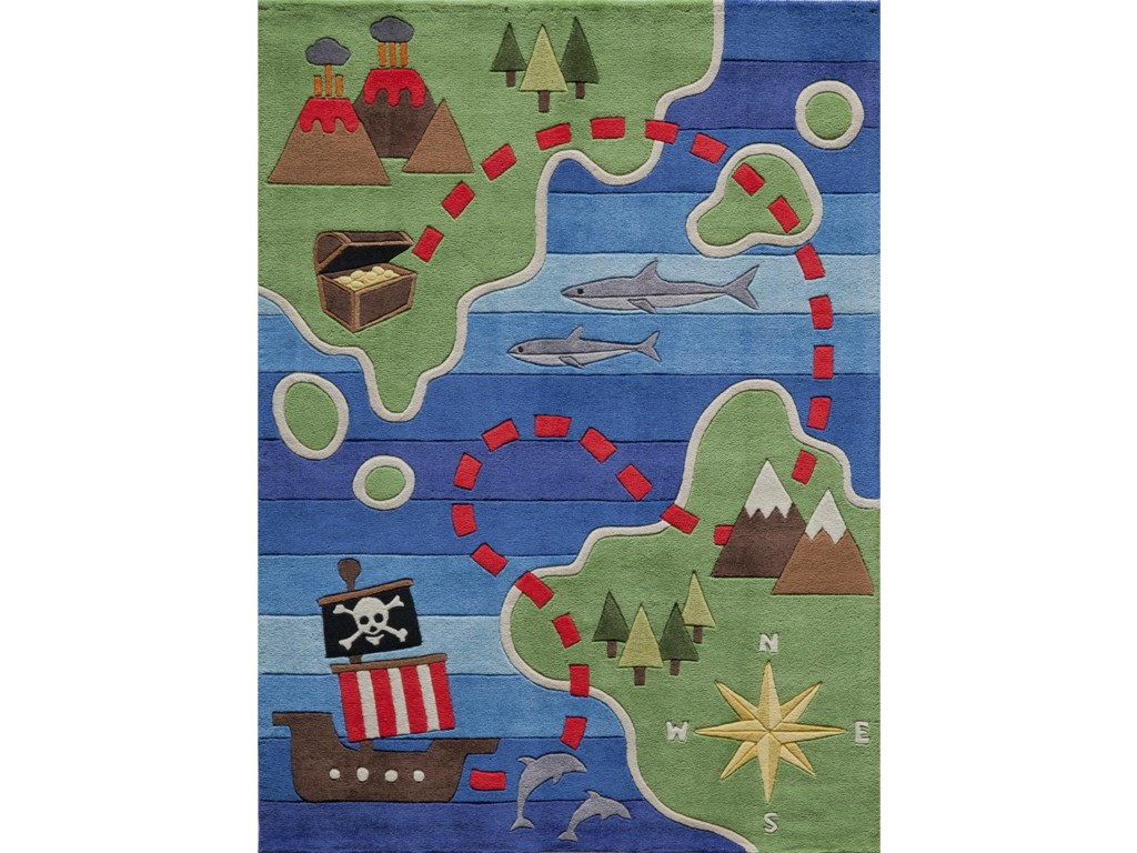 Momeni Lil Mo WhimseyPirate Map 4' x 6' Rug