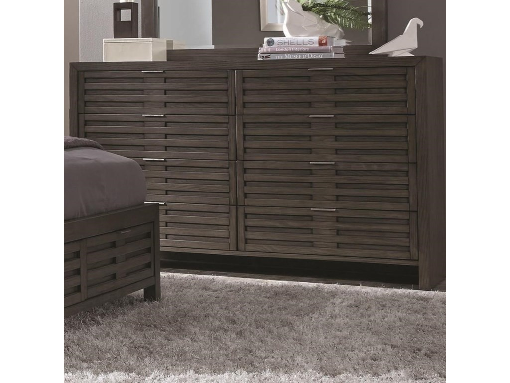 Belize Contemporary 8 Drawer Dresser With Brushed Chrome Hardware By Del Sol Nf At Furniture