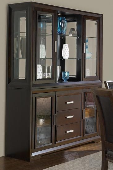 Najarian Bwood Contemporary China Cabinet With Etched Gl Doors