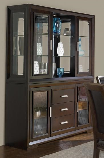 Najarian Brentwood Contemporary China Cabinet With Etched Glass Doors