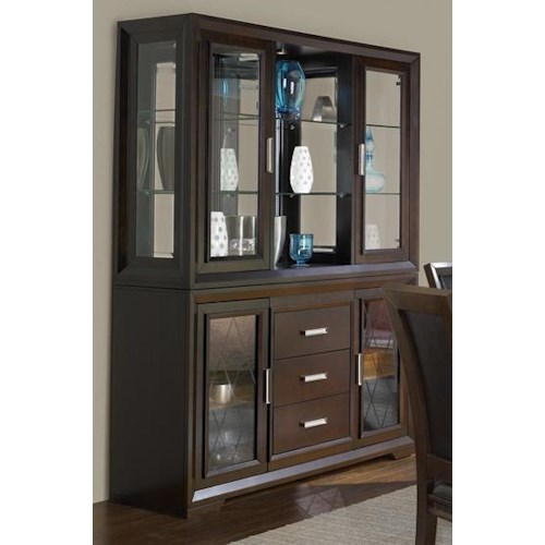 Modern Dining Room Cabinets: Contemporary China Cabinet With Etched Glass Doors