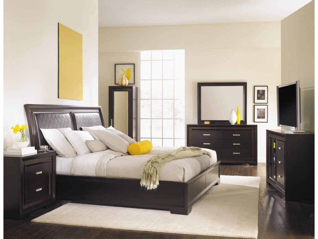 Shown With Coordinating Nightstand, Bed, Dresser, Mirror and TV Chest