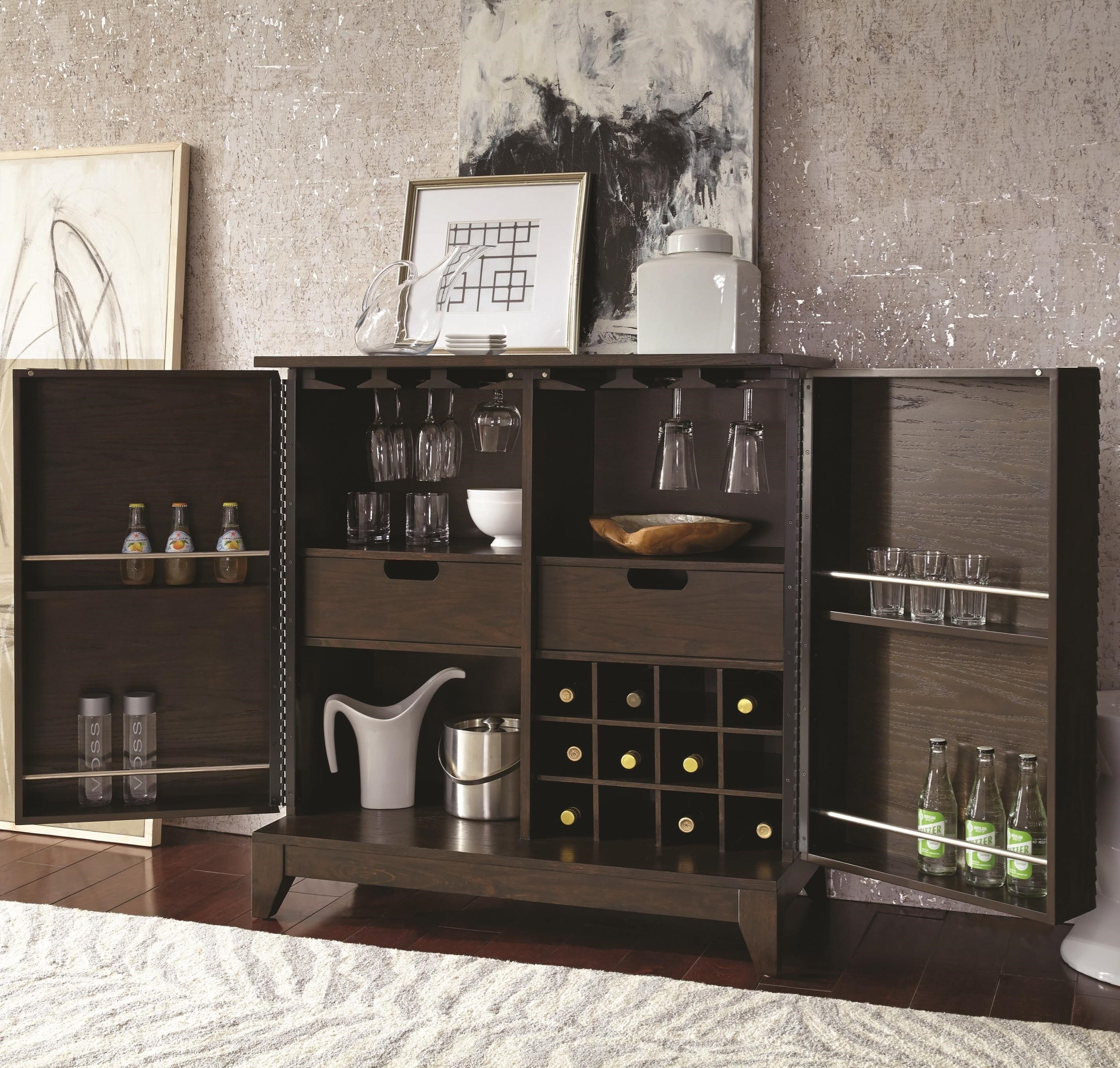 Najarian Cascade Contemporary Bar Cabinet With Wine Bottle And Stemware  Storage