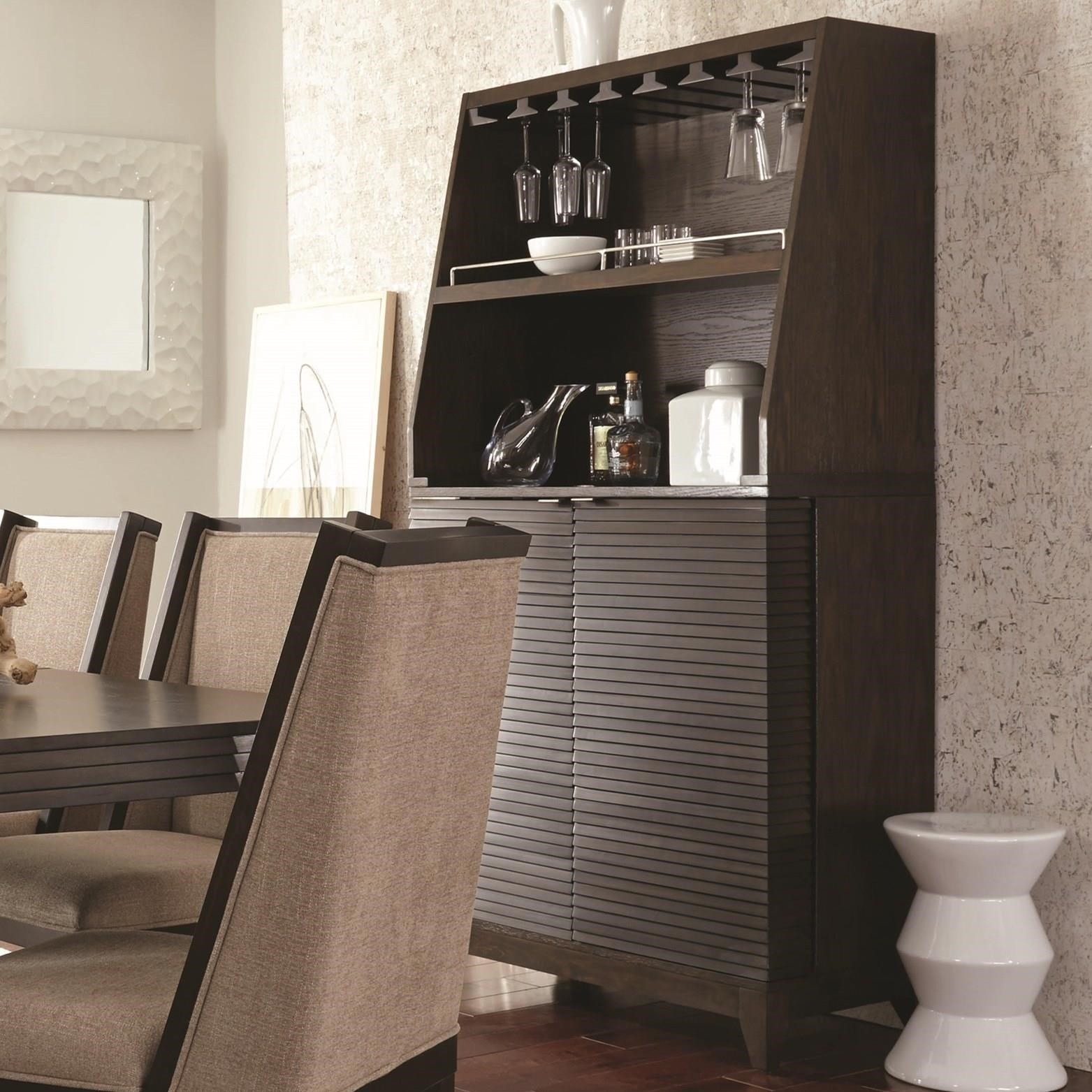 Superbe Najarian Cascade Contemporary Bar Cabinet With Wine Bottle Rack And  Stemware Storage Hutch