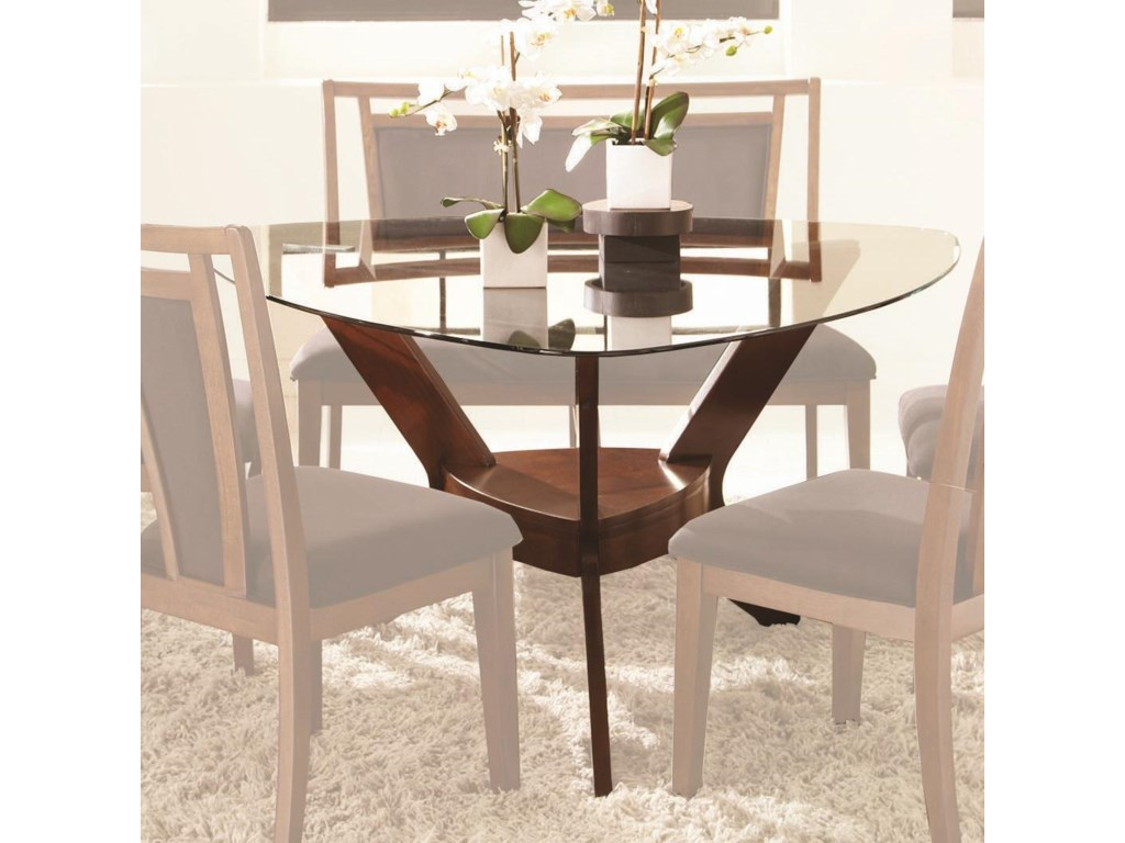 Triangle dining room table - Najarian Gallia Triangular Dining Table With Pedestal Base And Tempered Glass Top Fashion Furniture Kitchen Table