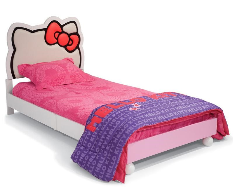 Najarian Hello Kitty Youth Bedroom Hello Kitty Theme Twin Size Bed with  Upholstered Headboard   Fashion Furniture   Upholstered Bed. Najarian Hello Kitty Youth Bedroom Hello Kitty Theme Twin Size Bed
