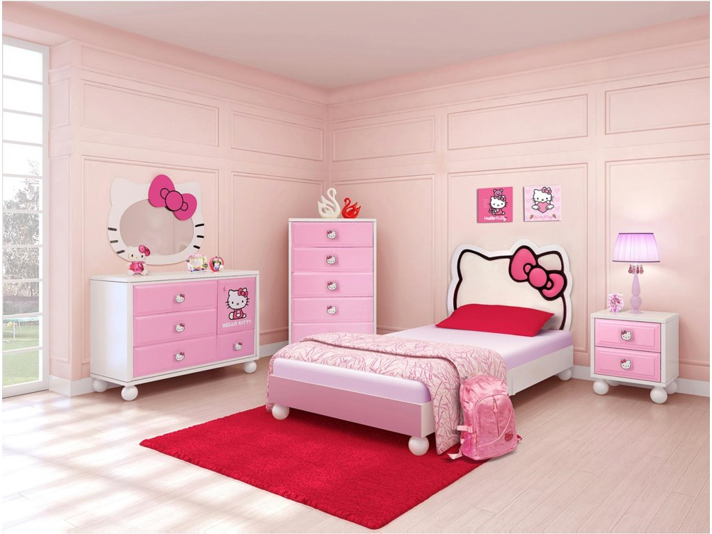 Hello kitty bed frame - Polyurethane Upholstered Headboard Shown With Dresser Hello Kitty Mirror Drawer Chest And Nightstand