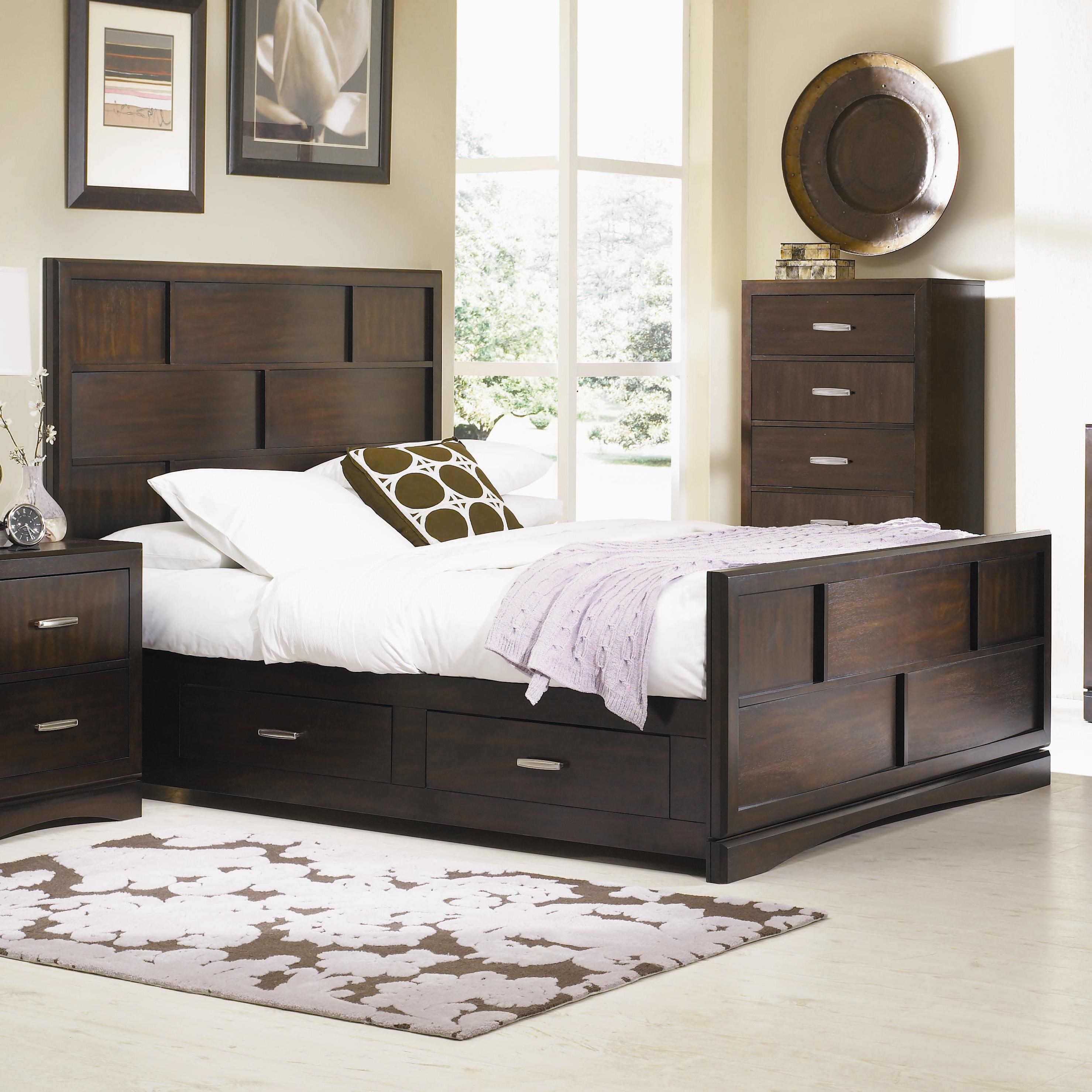 king size panel bed. Najarian Key West King-Size Panel Bed With Grid Detail And Storage Drawers King Size