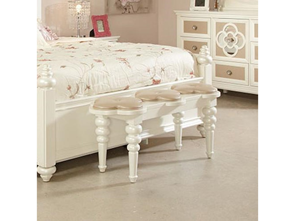 53db2955a29d Najarian Paris Youth Bedroom Paris Bedside Bench with Faux Leather  Upholstery and Clover-Leaf Cushions