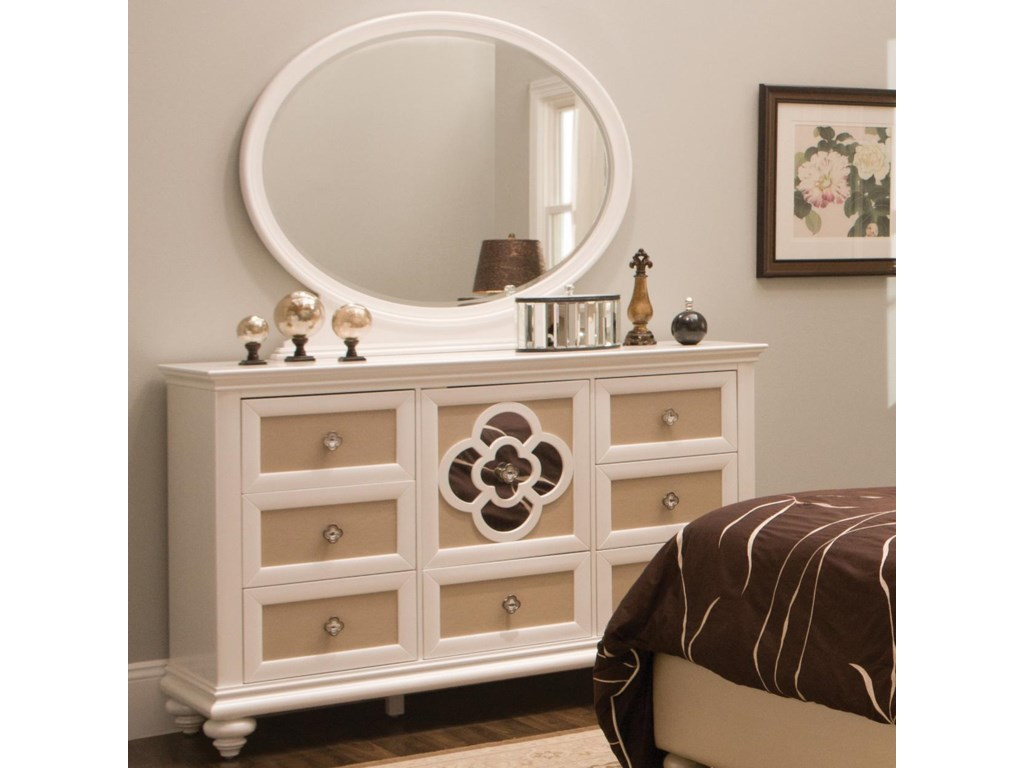 Najarian Paris Youth Bedroom Dresser and Mirror Set with Reversible ...