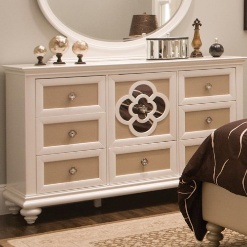 Seven Drawer Dresser with Reversible Drawer Panels and Reflective ...