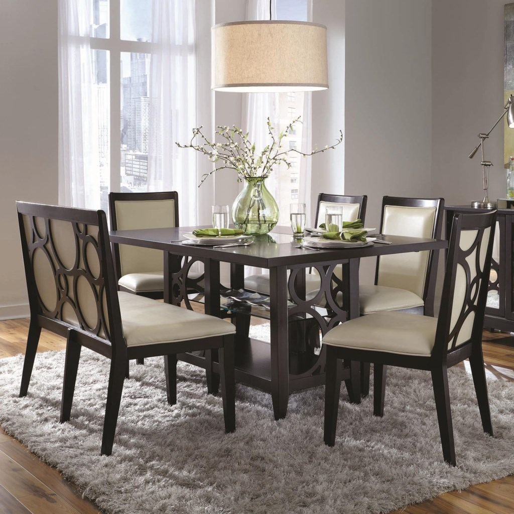 najarian planet six piece contemporary dining table and chairs set najarian planet six piece contemporary dining table and chairs set with upholstered bench fashion furniture dining 5 piece set