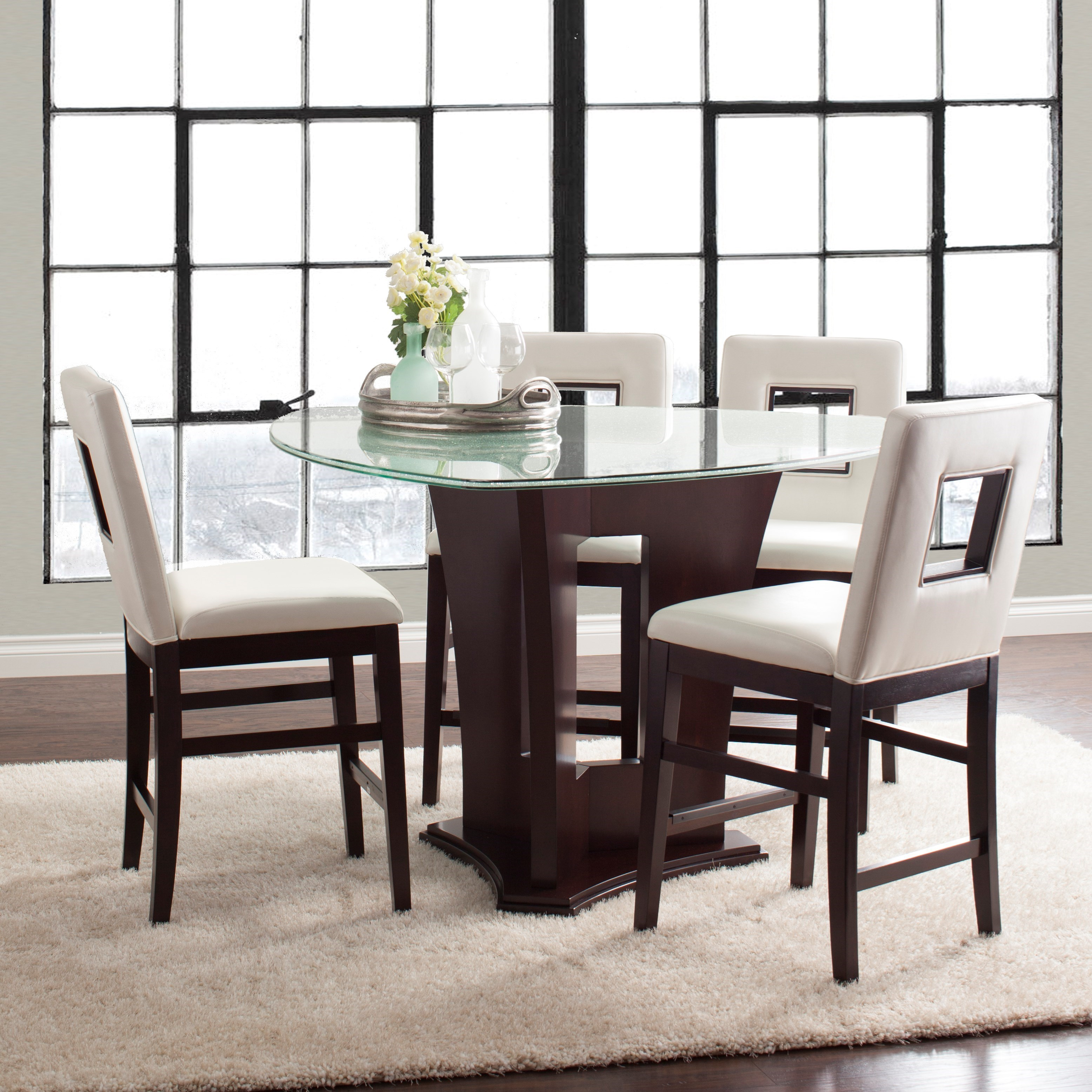 Najarian Soho Five Piece Counter Height Dining Set With Crackled Glass Table  And Upholstered Chairs