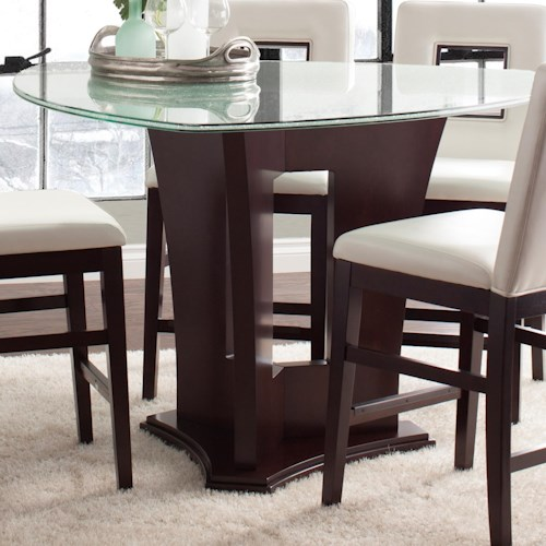 Counter height dining table with crackled glass top soho for Furniture 0 percent financing