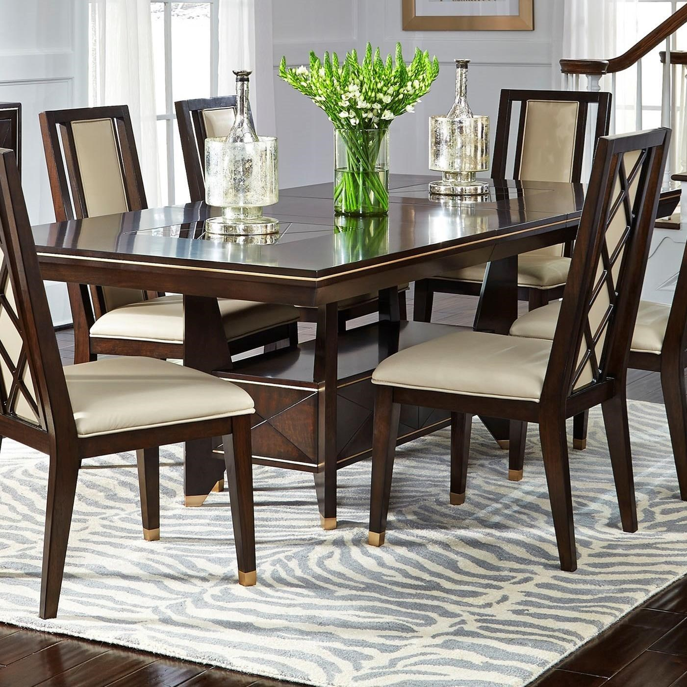 Najarian Westwood Dining Transitional Dining Table With One Leaf And Base  Shelf