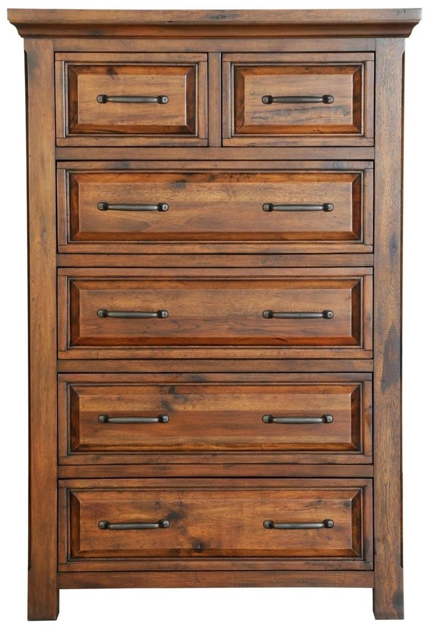 Warehouse M Hill Crest Rustic 6 Drawer Chest With Full Extension Drawers